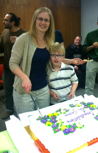 Becca and her nephew after she defended.